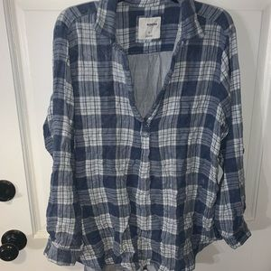 Sonoma blue and white plaid tunic